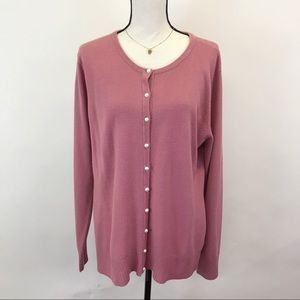 Covington Pink pearl button sweater XL